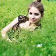 Stock Photo: Tender teen in grass