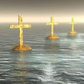 Glowing golden crosses — Stock Photo