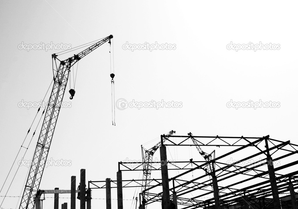 Silhouettes of the construction, Black and white photo. — Stock Photo #2748324