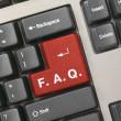 Computer keyboard - red key FAQ — Stock Photo