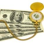 Golden watch on money background — Stock Photo