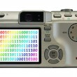 Stock Photo: Bytes on display of digital camera