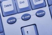 Počítačová klávesnice s klávesami pro internet — Stock fotografie