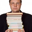Men with stack of books — Stock Photo
