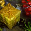 Royalty-Free Stock Photo: Gold christmas gift