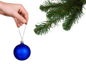 Cristmas tree, hand and ball — Stock Photo