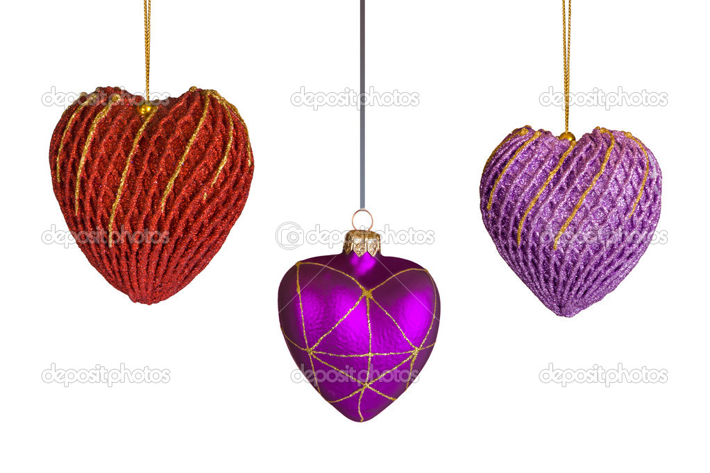 Christmas hearts, isolated on white background  Stock Photo #3976922