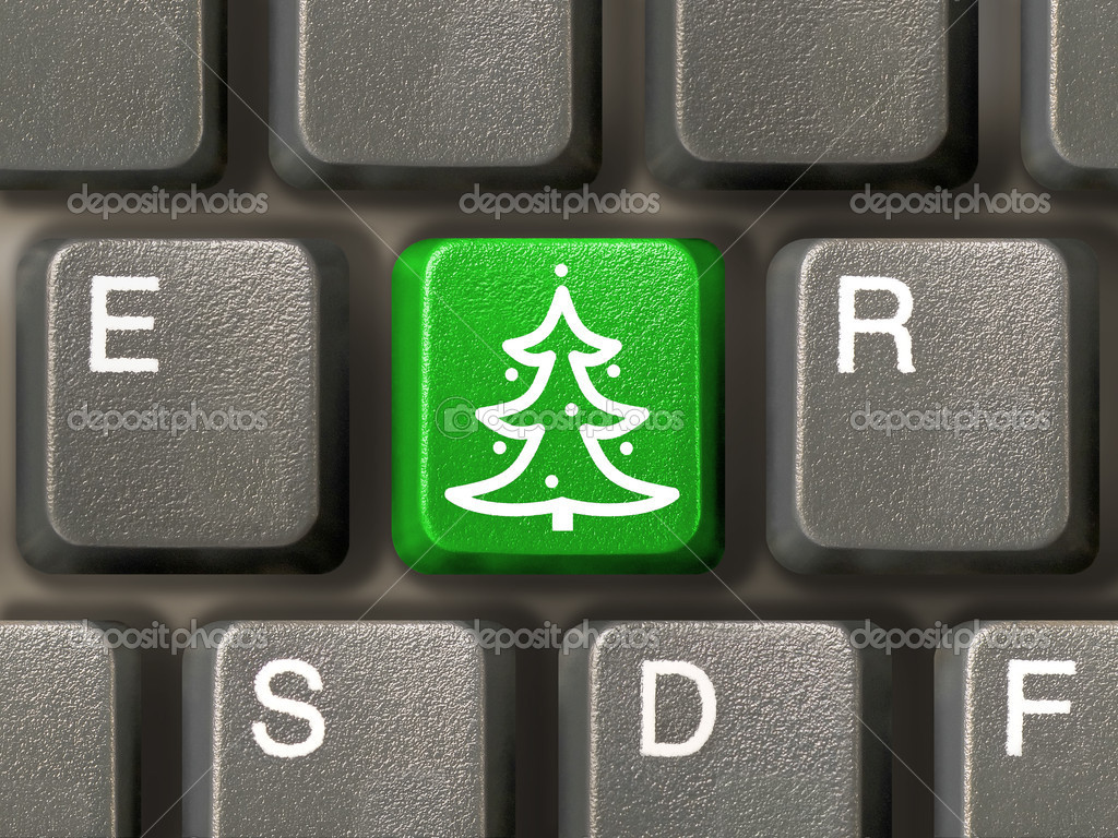 Computer keyboard, key with christmas tree, close-up — Stock Photo #3979439