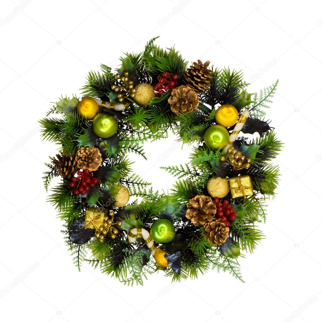 Christmas wreath, isolated on white background  Stock Photo #3979601