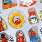 Christmas toys in box — Stock Photo