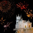 Stock Photo: Old castle and fireworks