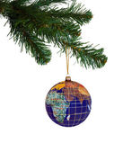 Earth and christmas tree — Stock Photo
