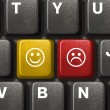 Computer keyboard with two smiley keys — Stock Photo