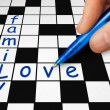 Crossword - family and love — Stock Photo