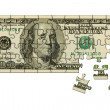 Banknote 100 dollars puzzle — Stock Photo