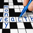 Crossword - wealth and money — Stock Photo