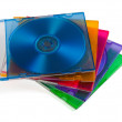 Computer disks in multiciolored boxes — Stock Photo
