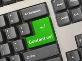 Keyboard - green key Contact us — Stock Photo