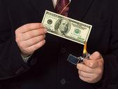 Man burnning the money — Stock Photo