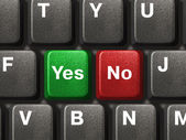 PC keyboard with Yes and No keys — Stock Photo