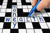 Bulmaca - para ve zenginlik — Stok fotoğraf