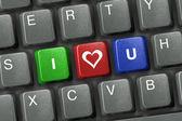 PC keyboard with three love keys — Stock Photo