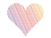 Heart shaped words I Love You — Стоковое фото