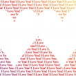 Stock Photo: Hearts shaped words I Love You