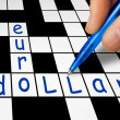 crossword - euro and dollar — Stock Photo