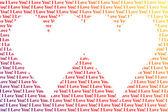 Srdce ve tvaru slova miluji tě — Stock fotografie