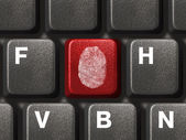 Computer keyboard with fingerprint — Stock Photo