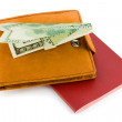 Passport, wallet and money airplane - travel concept — Stock Photo