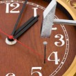 Clock, hammer and nail — Stockfoto