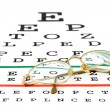 Glasses on eyesight test chart — Stock Photo