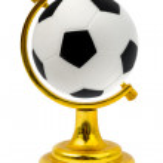 Soccer ball like a globe — Stock Photo