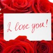 Foto Stock: Card and roses