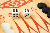 Macro of retro backgammon dices — Stock Photo