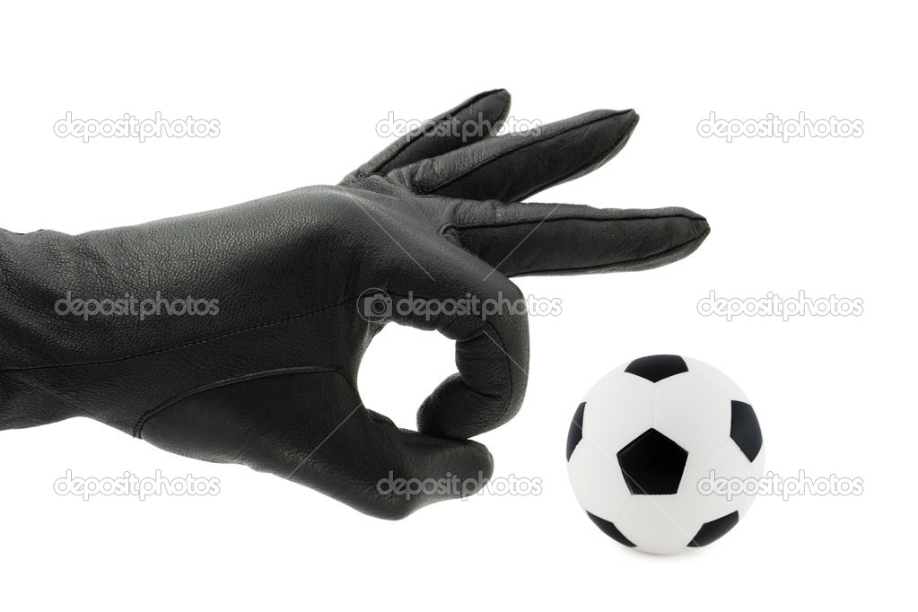 Hand in glove and soccer ball, isolated on white background — Stock Photo #4060988