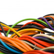 Multicolored computer cable - Stock Photo