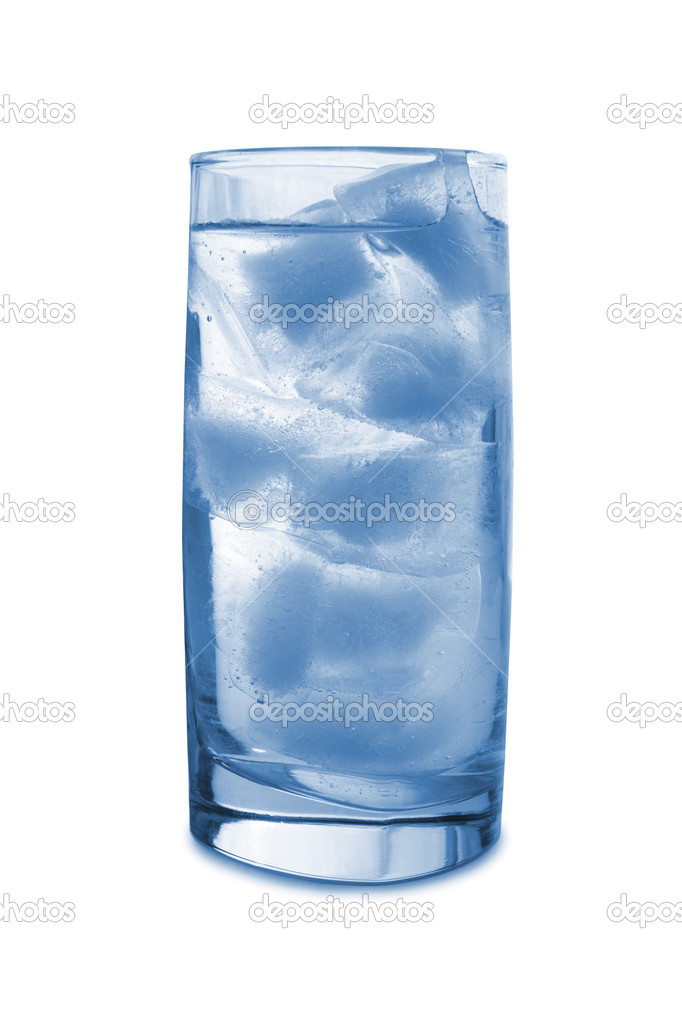 Ice in glass, isolated on white background  Stock Photo #4070155