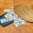 Stock Photo: Money and broom