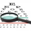 Stock Photo: Magnifier on eyesight test chart