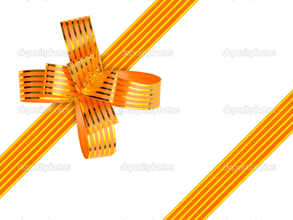 Gold bow and ribbon isolated on white background  Stock Photo #4085789