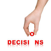 Hand and word Decisions — Stock Photo