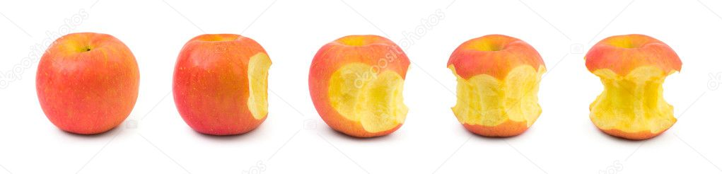 Eating apple fruit isolated on white background  Stock Photo #4119259