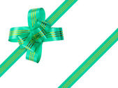 Green bow and ribbon — Stock Photo