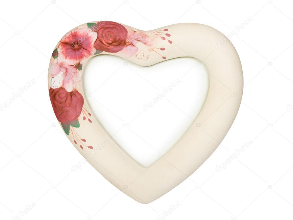 heart shaped frame with flowers stock photo 4163746