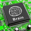 Brain symbol on computer chip — Stock Photo
