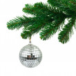 Christmas tree and mirror ball — Stock Photo