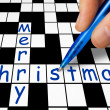 Hand filling in crossword - Merry Christmas — Stock Photo #4176449